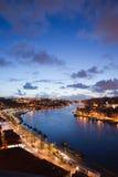 Afton på den Douro floden i Portugal Royaltyfria Bilder