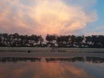 Afton på den Varca stranden, Goa Arkivbilder