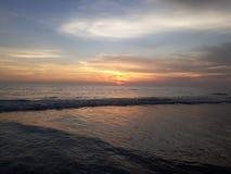 Afton på den Varca stranden, Goa Arkivfoto