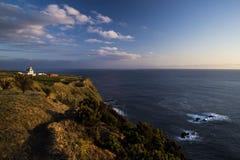 Afton på Farol da Ponta Ferraria royaltyfri fotografi