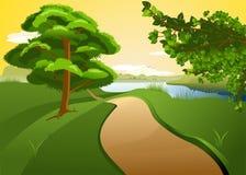 Afton på floden Royaltyfri Illustrationer