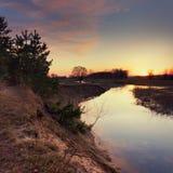 Afton på floden Arkivbilder