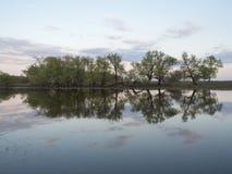 Afton på floden royaltyfria bilder