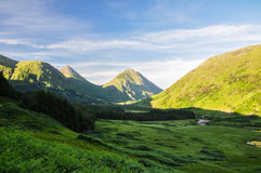 Afton på Glen Coe - Skottland, UK Arkivfoton