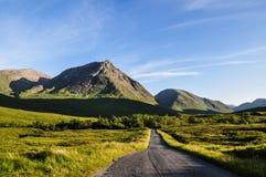 Afton på Glen Coe - Skottland, UK arkivfoto