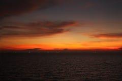 Afton på havet Arkivfoton