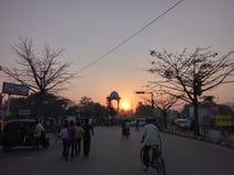 Afton på Kargil chowk Patna royaltyfri fotografi