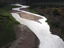 Afton på Littlet Missouri River, Teddy Roosevelt National Park, North Dakota arkivfoto
