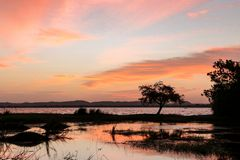 Afton på sjön, polonnaruwa Royaltyfri Foto