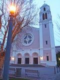 Afton på St Vincent De Paul Church, Petaluma Kalifornien Royaltyfri Bild