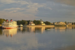 Afton på Volga Royaltyfria Bilder