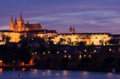 Afton Prague royaltyfria foton