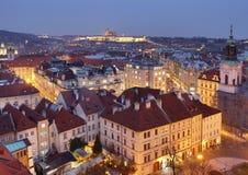 Afton Prague med slotten Fotografering för Bildbyråer