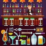 Afton som kopplar av, alkoholiserat parti på stången stock illustrationer