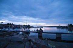 Afton Sverige för Oregrund hamnsommar Arkivfoto