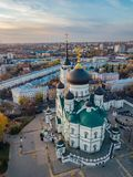 Afton Voronezh 19th för domkyrkaårhundrade för annunciation 17 kharkov för stad landmark ukraine flyg- sikt royaltyfri fotografi