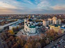 Afton Voronezh 19th för domkyrkaårhundrade för annunciation 17 kharkov för stad landmark ukraine flyg- sikt arkivfoton