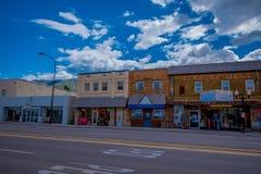 Afton, Wyoming, Estados Unidos - 7 de junho de 2018: Vista exterior do arco do elkhorn dos larges do ` s do mundo na entrada do fotos de stock