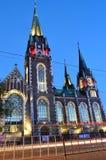 Aftonbild av katolska kyrkan Arkivfoton