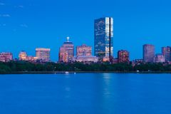 Aftoncityscape av Boston, USA Royaltyfria Foton