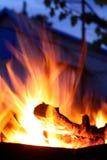 Aftonen vilar nära en brand Arkivbild