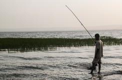 Aftonfiske på sjön Awassa Arkivfoton
