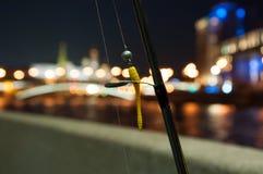 Aftonfiske vid floden Arkivfoto