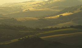 Aftonfält och kullar Arkivbilder
