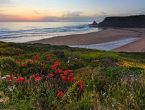 AftonhavOdeceixe strand Algarve, Portugal Royaltyfria Foton