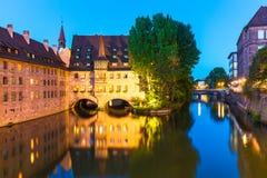 Aftonlandskap av Nuremberg, Tyskland Royaltyfri Bild