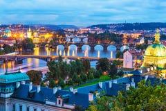 Aftonlandskap av Prague, Tjeckien Royaltyfria Foton