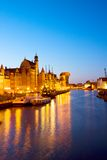 Aftonljus av den Motlawa kajen, Gdansk Royaltyfria Bilder