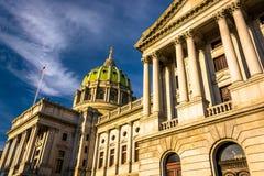 Aftonljus på den Pennsylvania statKapitolium i Harrisburg, P arkivfoto