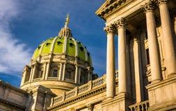 Aftonljus på den Pennsylvania statKapitolium i Harrisburg, P Royaltyfria Bilder