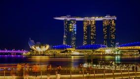 Aftonljus på Marina Bay Singapore arkivfoton