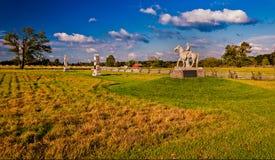 Aftonljus på slagfälten av Gettysburg, Pennsylvania Arkivfoton