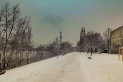 Aftonlynne på Donauen i Wien Arkivbilder