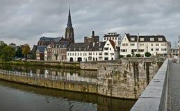aftonmaastricht Nederländerna Royaltyfria Bilder