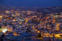 Aftonneighbourhood bland hiils, Betlehem Arkivbild