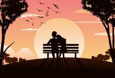 aftonparkromantiker Royaltyfri Foto