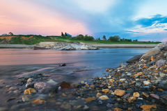 Aftonplats på floden Royaltyfria Foton