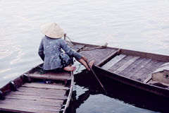 Aftonplats på floden i Hoi An royaltyfri bild