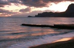 Aftonplats på havet Arkivbilder