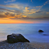 Aftonplats på havet Arkivfoto