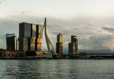 AftonRotterdam horisont med den Erasmus Bridge Kop van Zuid grannskapen, Nederländerna arkivfoton