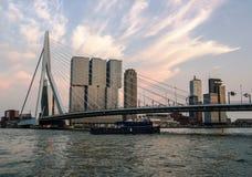 AftonRotterdam horisont med skeppet under den Erasmus Bridge Kop van Zuid grannskapen, Nederländerna royaltyfria foton