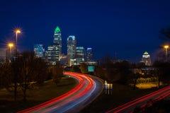 Aftonrusningstidpendlingssträcka i Charlotte, North Carolina 3 Royaltyfri Foto