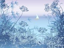 Aftonseascape med segelbåten Royaltyfri Foto