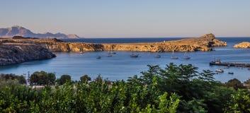 Aftonseascapepanorama, Rhodes ö, Grekland Royaltyfri Foto