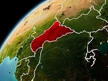 Aftonsikt av centrala Afrika på jord Royaltyfri Foto